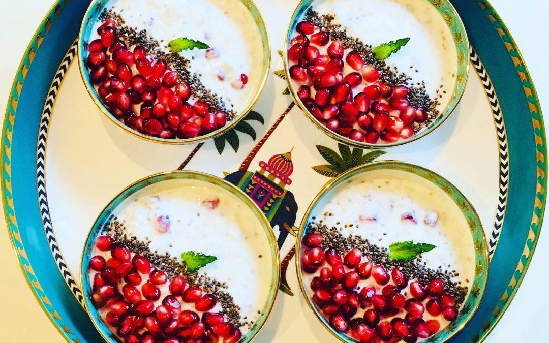 Organic sona masuri rice, yogurt, chia seeds and pomegranate