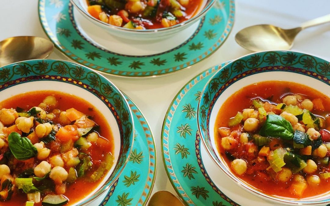 Chickpea Stew with vegetables and fresh herbs