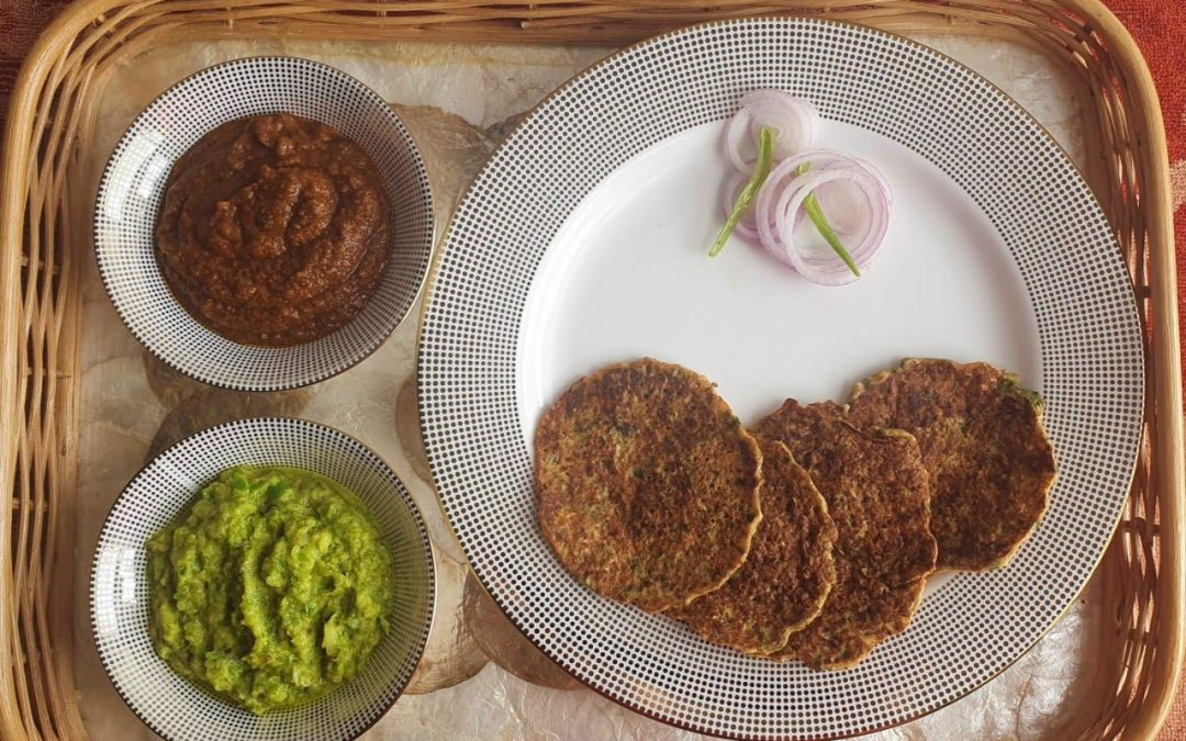 Maharashtrian Thecha, Red Garlic Chutney, and Sprouted Pancakes by Jyotsna Lunkad